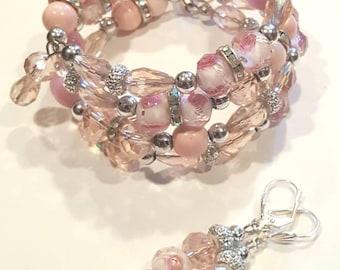 Pink Blossom Wrap Bracelet