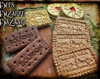 Steampunk Biscuit Pin Badge - Bourbon - Custard Cream - Malted Milk - Jammy Dodger - Tea