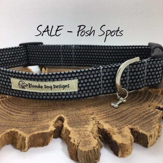 Sale Dog Collar, Dog Collar, Posh Spots, Grey Dog Collar, Spotty Dog Collar, Luxury Dog Collar