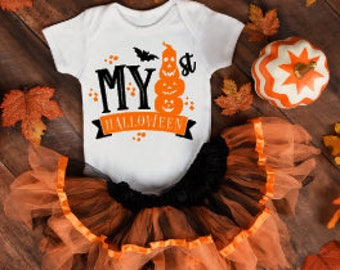 My First Halloween Onesie®, Funny Onesies®, Funny Bodysuits, Baby, Baby Clothing, Baby Girl, Halloween, Baby's First Halloween, Pumpkin, Bat