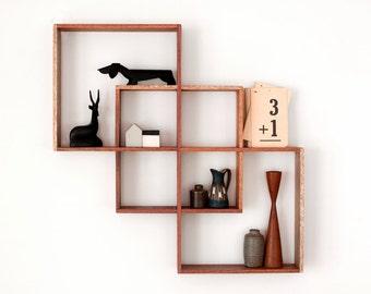 3 Shadow Box display cabinet to display your treasures Wall hanging shelf wood round art retro modern vintage handmade timber wood keep sake