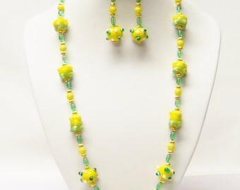 Bumpy Yellow w/Green Lamp Work Glass Bead Necklace/ Bracelet/Earrings Set
