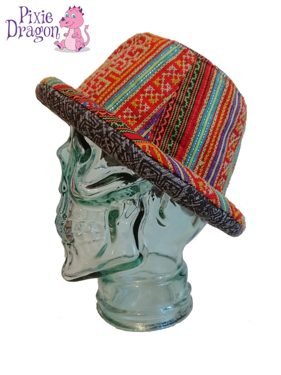 c0c95d4ff6d Multicoloured Patchwork Hat Patchwork Bucket Hat Upcycled