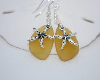 Yellow Sea Glass Earrings, Star Fish, Starfish Earrings Seaglass Earrings, Starfish Jewelry Sea Glass Jewelry Beach Jewelry Ocean Jewelry 69