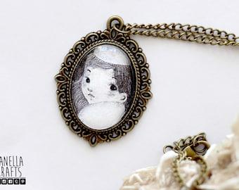 The third fairy - vintage cameo, pendant, illustration jewelry, VALENTINE'S