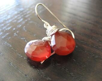 Corazon...Red Chalcedony Heart Briolette Earrings...FREE SHIPPING
