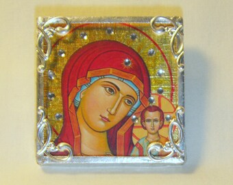 Bejeweled Virgin Mary in Red Pin & Pendant Combo Russian Icon inv1156