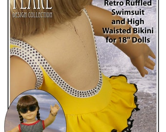 L&P #1058: Retro Ruffled Swimsuit and High Waisted Bikini Pattern for 18 inch dolls — the cutest little vintage-style swimsuit!