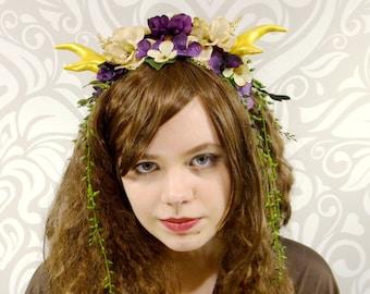 Horned Headdress, Horned Headpiece, Faun, Fawn, Satyr, Gold Antler Headpiece, Flower Crown, Woodland Fairy Headpiece, Maenad, Burningman