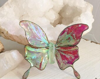 Made to Order, Crystal Butterfly, Shimmery Wings, Knick Knack, Butterfly Ornament, Sun Catcher, Crystals, Quartz Point, Christmas Ornament