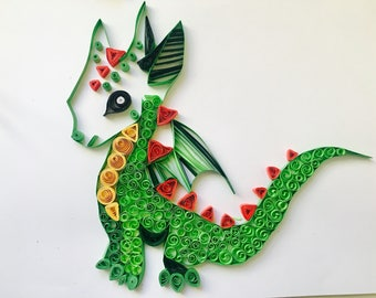 Personalised quilled dragon, dragon wall art, dragon frame, nursery decor, gifts for him, birthday gift, boys room, framed wall art