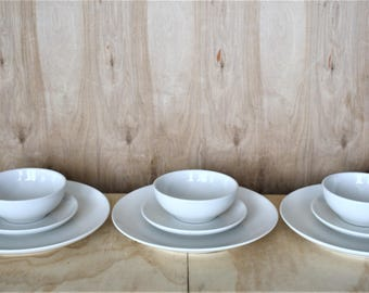 Russel Wright Iroquois Casual 9 Piece/ 3 Place Setting Set/ Casual White/Dinner/BB/Coupe Cereal/ c. 1950's/ Mid Century Ceramic