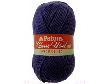 ROYAL PURPLE Patons Classic Wool yarn. Dark Purple Wool Yarn. This 100% Wool Yarn is great for felting. It is worsted weight Pure New Wool ±
