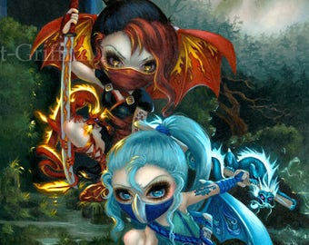 Ninja Dragonlings fairy art print by Jasmine Becket-Griffith 8x10 ninja dragon clan fairies japan fairy yuriko waterfall izumi japanese