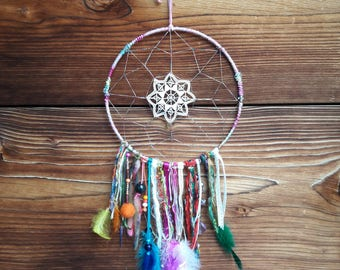 dream catcher - dream, dreamcatcher, multicolored, lace, pearls, ribbons, feathers, unique embroidered thread.