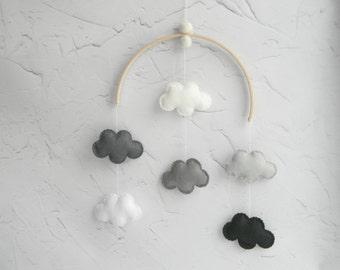 Monochrome Nursery Decor Monochrome Baby Mobile Cloud mobile Hanging mobile Neutral mobile Black Gray White Nursery Decor
