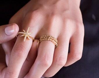 Starburst, Starburst Ring, Minimalist Ring, Gold Ring, Dainty Ring, Ring, Stackable Ring, Midi Ring, Gold Stacking Ring, Gold Band Ring