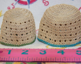 DOLLMANIA SALE: Two vintage cute crocheted doll beanies or egg cozies in great condition
