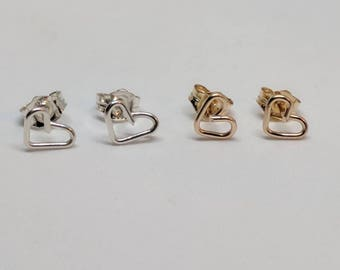 Tiny heart post earrings. Heart stud wrapped earrings. Gold heart earrings. Silver heart earrings