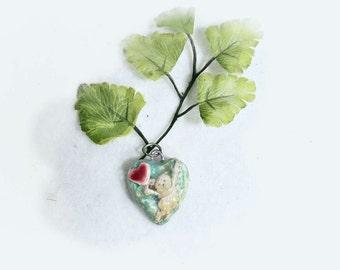 heart bead - ceramic  heart , Heart bead for necklaces, necklace bead supply, clay heart bead,   # 56