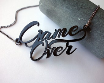 Game Over - Aliens movie inspired black acrylic lasercut necklace
