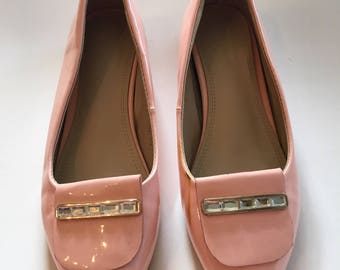 Pink Patent Leather Vintage Flats w/ Rhinestones