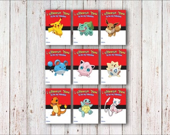 Pokemon Valentine's Day Card Pikachu Valentine Instant PRINTABLE Download 9 Cards Jigglypuff Charmander Bulbasaur Eevee Squirtle Marill Mew