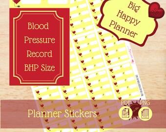 Blood Pressure Record|Big Happy Planner Stickers|Happy Planner Stickers|Single Sheet Stickers|Create 365|MAMBI|