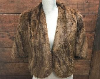 Vintage 70's Brown Fur Cape, Vintage Fox Fur Stole, Wedding Stole, Brown Fur Capelet