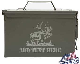 Elk Personalized Ammo Box Mens Cool Guy Gifts Father's Day Gift Ideas Personalized Grandpa Gift Groomsmen Hunter