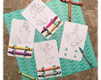 Disney Princess Party Favor, Princess Party, Coloring, Crayons, Custom, Personalized, Birthday Party, Classroom Project, Cinderella, Elsa