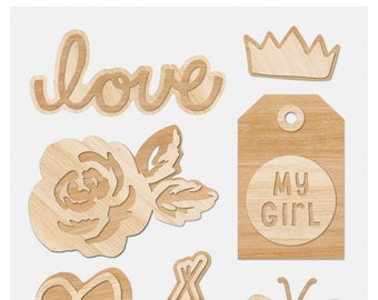 Crate Paper Cute Girl Wood Embellishments -- MSRP 4.00