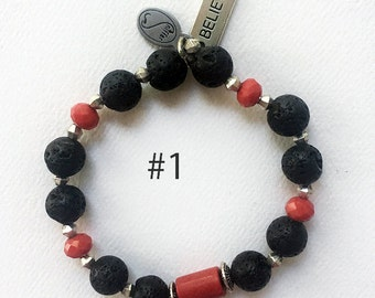 Essential OIl Diffusing Bracelet - Red Coral