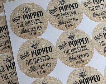 Engagement Stickers, He Popped the Question, Custom Wedding Stickers, He Popped the Question Stickers, Wedding Stickers, Custom Stickers.