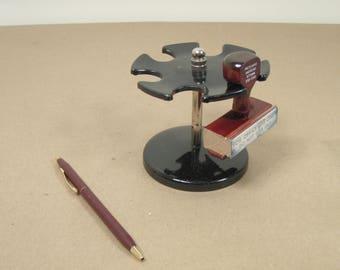 Vintage Black Desk Top Office 6 Rubber Stamp Carousel Stand / Holder - 1960s Era
