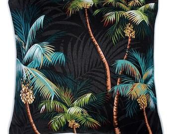 Hawaiian Tropical cushion cover beach island coastal polynesian chic Black Palm Trees