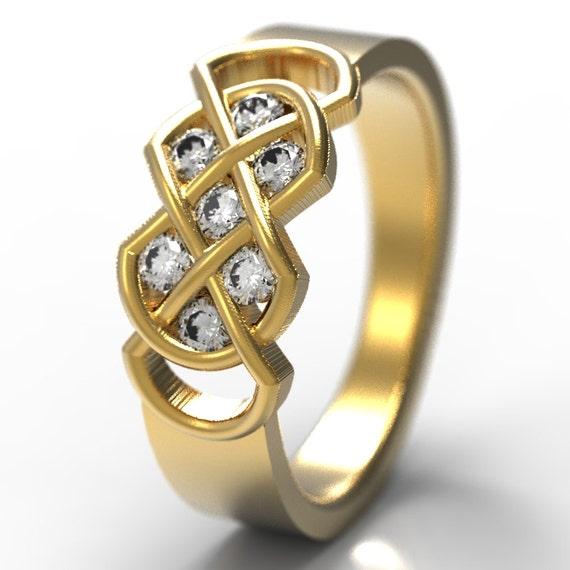 Celtic White Sapphire Or Moissanite Wedding Band, Celtic Knot Ring, 10K 14K 18K Gold, Palladium or Platinum, Knot Ring, Made Your Size 771