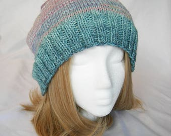 Faded Jane hand knit hand dyed merino soft stripes hat slouchy beanie