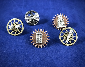 Steampunk Doctor Who Set of Pins || Tardis, Sonic Screwdriver, Dalek, Bow Tie, Two hearts || Lapel Pin / Tie Tack / Scatter Pins ||