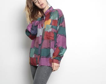 vintage fresh prince SILK versace style 90s abstract SURF slouchy WILD baroque oversize blouse shirt