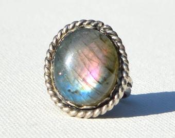 Labradorite Rope Handmade Sterling Silver Ring