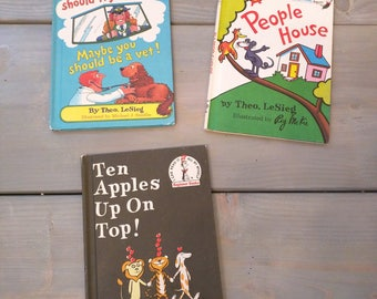 Dr Suess books Vintage lot Dr Suess Kids nursery books set Theo Lesieg, Maybe you should fly a jet, In A People House, Ten Apples Up On Top!