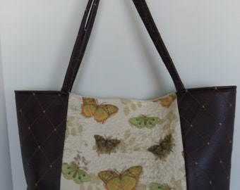 Butterfly Quilted Tote Bag