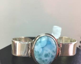 Larimar and Sterling Silver Hand Forged LInk Bracelet