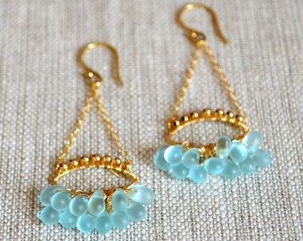 Gold Chandelier Earrings, Aqua Blue Frosted Glass, Teardrop, Chandalier Earrings, Wire Wrapped, Bronze Jewelry