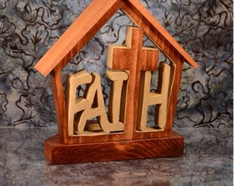 Church Faith TeaLight Holder Cottage-Unique Décor-LED Candle Holder-Handcrafted Tea Light-Wooden Religious Cross