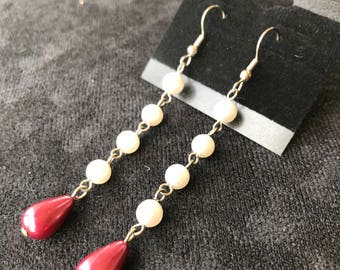 Quadruple Pearls with Maroon Teardrop Earrings