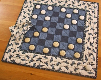 All Hallows Eve Checkers Game Quilted Raven Table Runner Decor | Halloween Party Game Crow Checkerboard | Edgar Allan Poe Nevermore Quilt