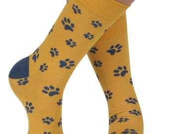 Paw Prints soft bamboo organic crew sock, yellow | seriouslysillysocks