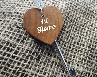 New/First Home Skeleton Key Ornament- Custom Wedding Gift- Personalized Housewarming Gift- Wooden Heart in Golden Oak Stain